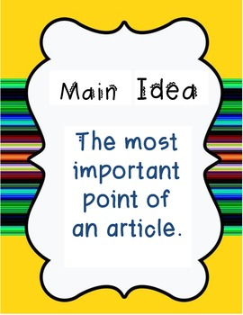Main Idea and Details Comprehension Posters