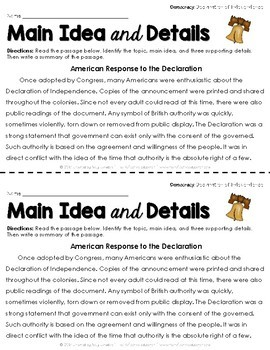Main Idea and Details ~ Democracy Passages