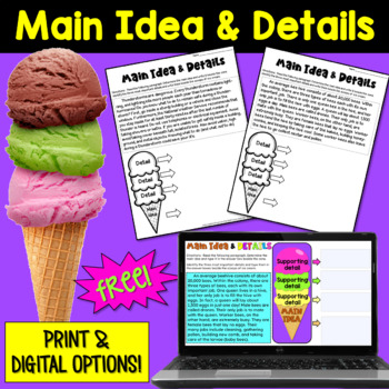Main Idea And Details Freebie Two Passages By Deb Hanson Tpt