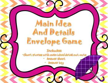 Main Idea and Details Game - Common Core Aligned