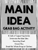 Main Idea and Details Grab Bag Activity