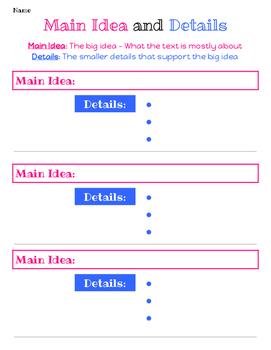 Main Idea and Details Graphic Organizer