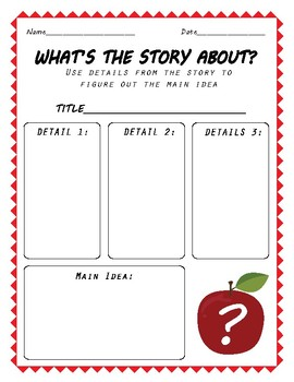 Main Idea and Details Graphic Organizer - FREE