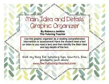 Main Idea and Details Graphic Organizer FREEBIE