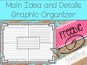 Main Idea and Details Graphic Organizer ~ Freebie!