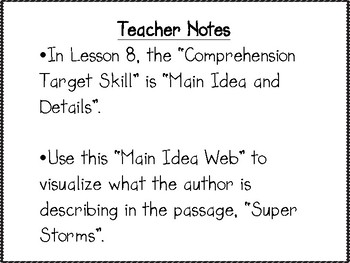 Main Idea and Details Graphic  Organizer, Lesson 8 Journey's 2nd Grade