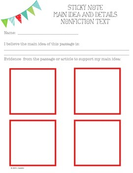 Main Idea and Details Graphic Organizer - Nonfiction