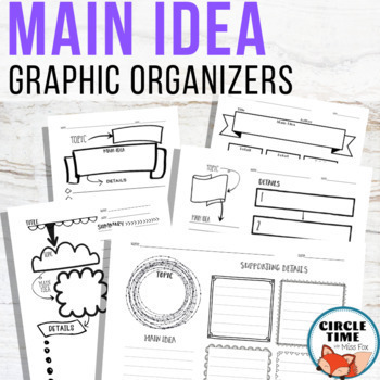 Main Idea and Details Graphic Organizers: Doodle Theme