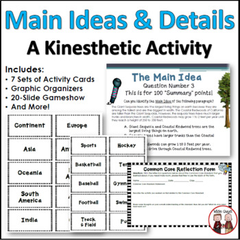 Main Idea Details Kinesthetic Learning Activity (Common Core)