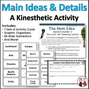 Main Idea Details Kinesthetic Learning Activity (Common Core)