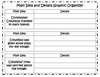 Main Idea and Details Learning Center - Christopher Columbus