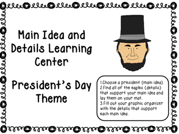Main Idea and Details Learning Center - President's Day Theme