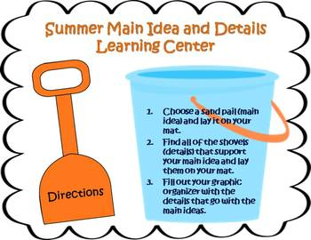 Main Idea and Details Learning Center - Summer Theme