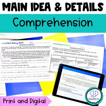 Main Idea and Details Listening Comprehension... by SLP Madness ...