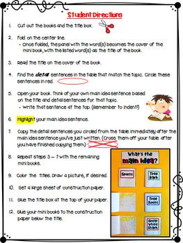 Main Idea and Details Mini Booklets
