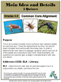 Main Idea and Details Multiple Choice Quizzes -- Common Core Alignment