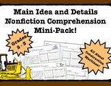 Main Idea and Details Nonfiction Comprehension- Leveled! Construction Vehicles!