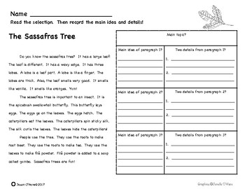 Main Idea and Details Nonfiction Comprehension- Leveled! Featuring Trees!