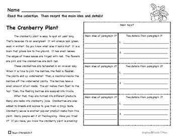 Main Idea and Details Nonfiction Comprehension- Leveled! Fruits and Vegetables!