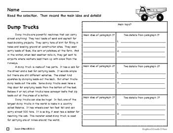 Main Idea and Details Nonfiction Comprehension- Leveled! Trucks!!