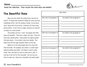 Main Idea and Details Nonfiction Comprehension Passages- Leveled!