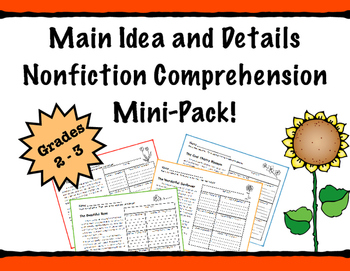 Main Idea and Details Nonfiction Comprehension Passages- Leveled!