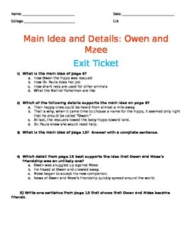 Main Idea and Details: Owen and Mzee