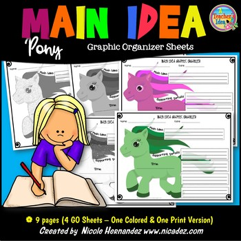 Main Idea and Details Graphic Organizers - {Pony deTAILS}