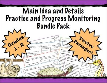 Main Idea and Details Practice and Progress Monitoring Featuring Animals