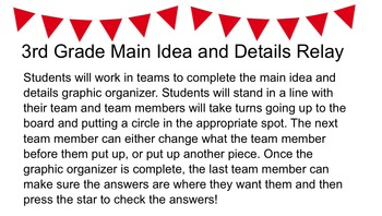 Main Idea and Details Review Game