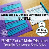 Main Idea and Details Sentence Sort BUNDLE {Using Higher Order Thinking Skills}