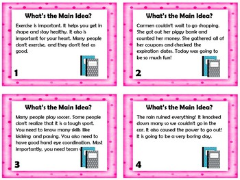 Main Idea and Details Task Cards FREEBIE (Optional QR Codes)