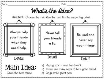 Main Idea and Details Mini-Unit