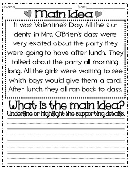 Main Idea and Details: Valentine's Themed (Common Core)