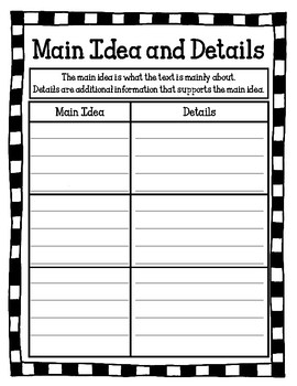Main Idea and Details Worksheet