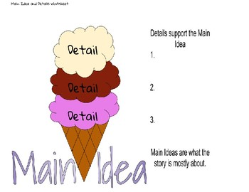Main Ideas And Details Ice Cream Cone Teaching Resources Teachers