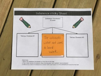 Main Idea and Inference Sticky Note Activity Sheets