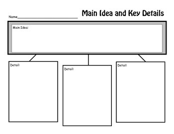 Main Idea and Key Detail Graphic Organizer