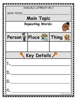Main Topic and Key Details Anchor & Process Charts
