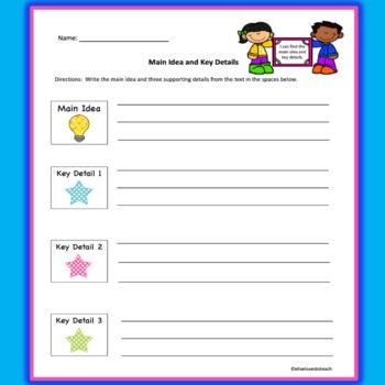Main Idea and Key Details Graphic Organizer