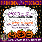 Main Idea and Key Details- Halloween Passages and Graphic Organizers