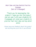 Main Idea and Key Details Practice Passage- 5 Passages