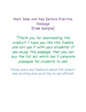 Main Idea and Key Details Practice Passage (FREEBIE)