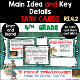 Main Idea and Key Details Task Cards Plus Easel Activity RI.4.2