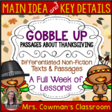 Main Idea and Key Details- Thanksgiving Passages and Graphic Organizers