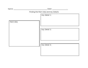 Main Idea and Key Details Worksheet
