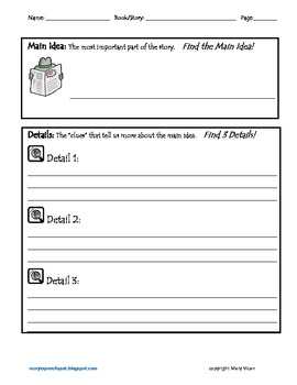 Main Idea and Key Details graphic organizer
