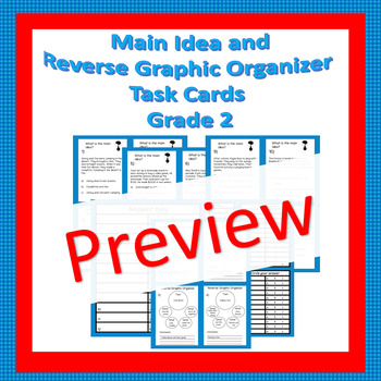 Main Idea and Reverse Graphic Organizer Task Cards