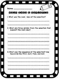 Main Idea and Sequencing Response Sheet
