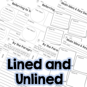Main Idea and Summarize Informational Graphic Organizers RI.3.2, RI.4.2, RI.5.2